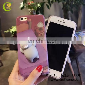 3D Design Custom Logo Wholesale China Factory Soft Touching Gray Cat Squishy Phone Case for iPhone 6