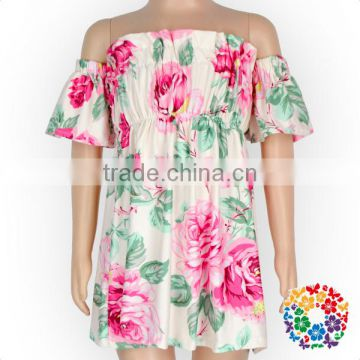 2017 Newest Fashion big Flower Off Shoulder Dress Boutique Summer Casual Dresses For Ladies