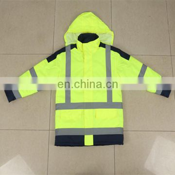 Men's high visibility jacket safety clothes with reflective tapes