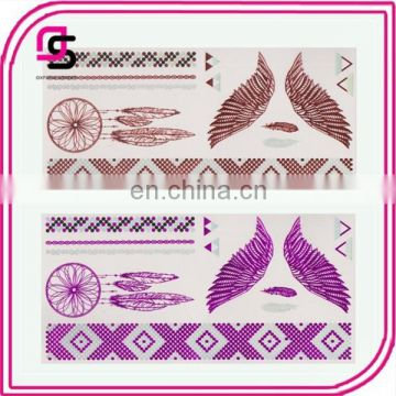 Temporary colorful tattoo metallic flash tattoos