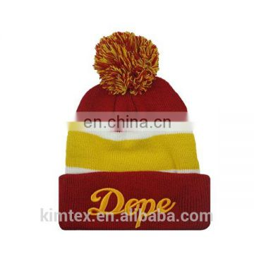 Wholesale acrylic knitted custom pom pom hat