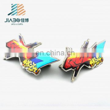 cheap wholesale print with epoxy anime airplane lapel pin