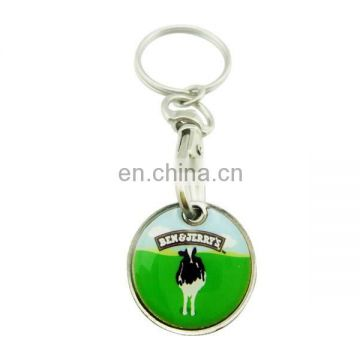 custom metal printed with epoxy cow shopping Trolley token