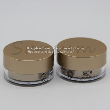 15g Luxury Matte Golden Plastic Cosmetic Double Wall Cream Jar