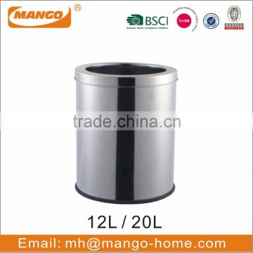 Round Stainless Steel Garbage Trash Bin