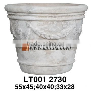 Vietnam Pattern White Painted Flower Pot For Manufacturer