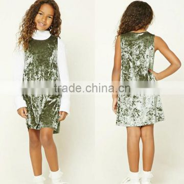 9f82009ac2a Korean Dress Clothing Fashion Formal Wear Winter Sleeveless Round Neck  Flower Girls Mini Mint Crushed Velvet Dress For Girls of Girls Clothing  from China ...