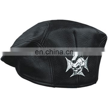 HMB-903B6 LEATHER GOLF CAPS KEPI CAP BLACK MIX SIZES HAT IRON CROSS
