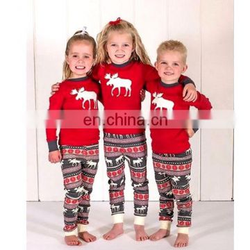 christmas ornaments 2017 Family Matching Reindeer Pattern Pure Cotton Sleepwear Sets for Kids,