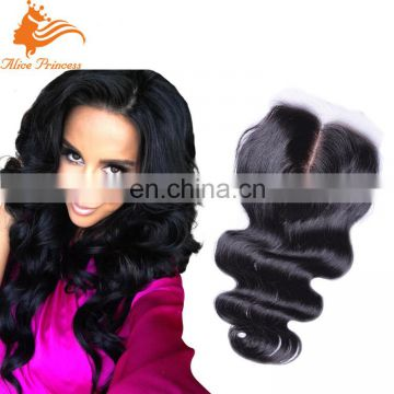Hot Selling High Quality No Shedding Natural Color Middle Part Body Wave Virgin Human Hair Swiss Lace Top Closure