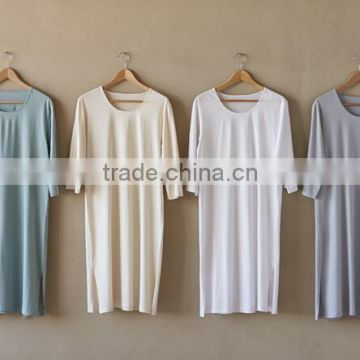 Wholesale Sexy Cheap 3/4 Sleeved Ladies Classic 100 Cotton Long Knit Jersey Nightgown