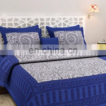 Colored Cotton Double Bedsheet With Two Pillow Cover