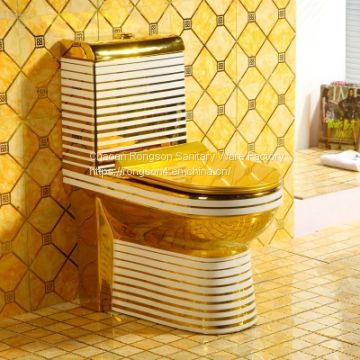 Gold color ceramic popular used one piece bathroom toilet closet from chaozhou factory