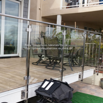 304/316 Stainless Steel Post Tempered Glass Balcony Railing Design