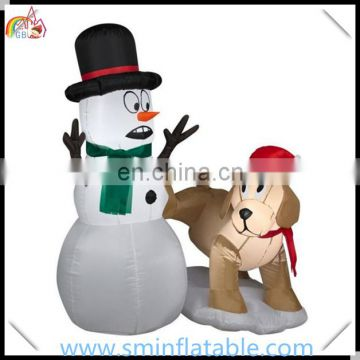 Christmas led inflatable snowman with dog , christmas decorating for yard deocr