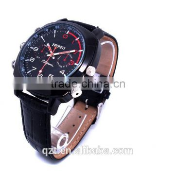 HD video recorder hidden cam waterproof design black Leather wrist watch camera                                                                         Quality Choice