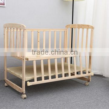 New baby bed solid wood multifunctional baby carriage change desk rocking bed to send mosquito net can be customized