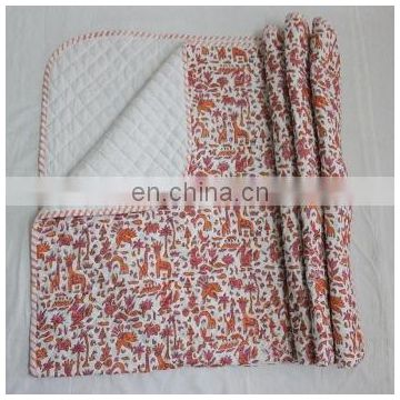 hand made hand Block Print Indian kantha Quilts Single Size Bed Cover Throw 01