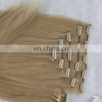 Natural cheap 100% human hair virgin unprocessed hair extension with clips