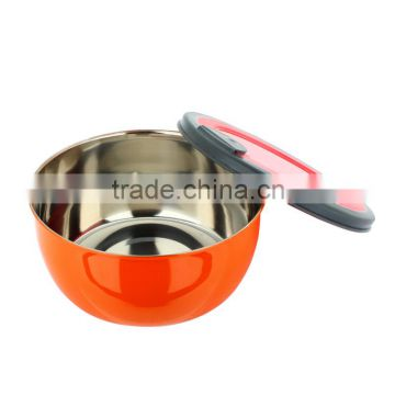 Color tableware mixing bowl tiffin box stainless steel keep food fresh Storage Boxes with plastic lid