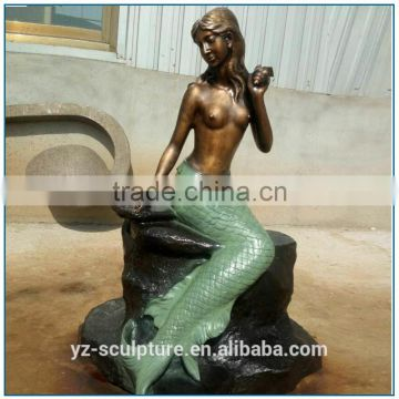 Outdoor Life Size Bronze mermaid fountain for sale