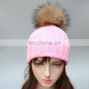 Factory price popular striped style raccoon fur ball knitted beanies