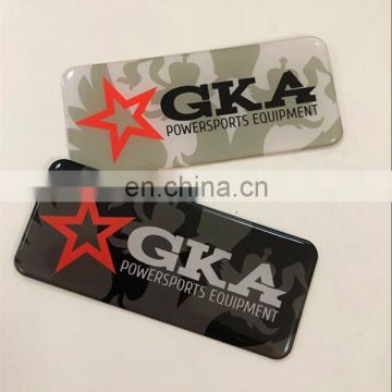 Metal Silk -Printed logo label with epoxy cover
