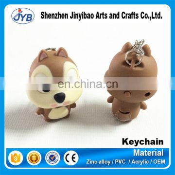 Cute Small squirrel sounded light led keychain for promotional gift