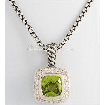 DY Sterling Silver Inspired 7mm 7mm Peridot Petite Albion Necklace
