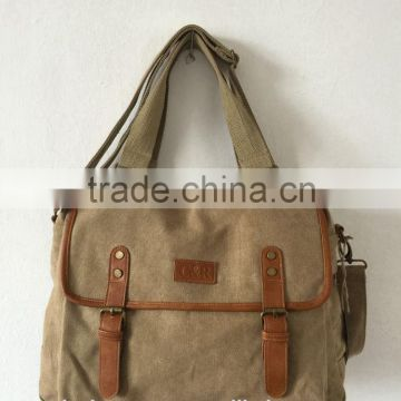 backpack made of canvas material with leather patch