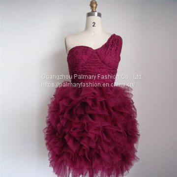 SINGLE SHOULDER RUFFLE COCKTAIL DRESS PO30