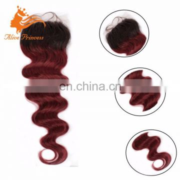 Alibaba Vendor Online Hot Sell High Quality Expression Weaves Hair Ombre Dark Red Color Virgin Hair Lace Closure With Bundles
