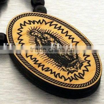 Wooden necklace Mary Pendant Chain good bead wood macrame black hip hop