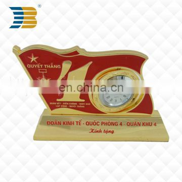 customized unique design manufacture metal gold with clock anniversary trophy