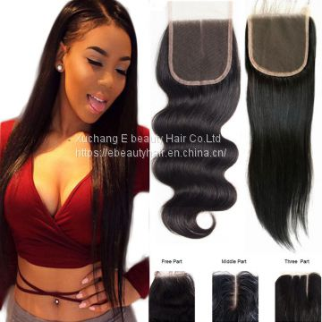 9a malaysian hair straight or body wave wavy style 4x4 lace closure