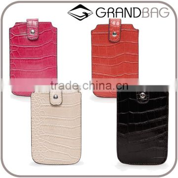 high quality handmade crocodile leather phone case with edge coats and small flap custom logo phone sleeve for iphone