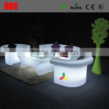 Garden outdoor PE outdoor plastic sofa with LED lighting colorful sofa