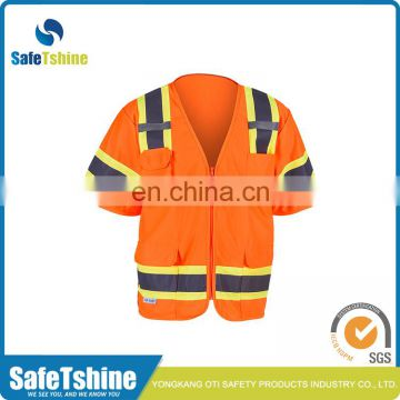 High visibility reflective fluorescent polyester economy yellow safety vest