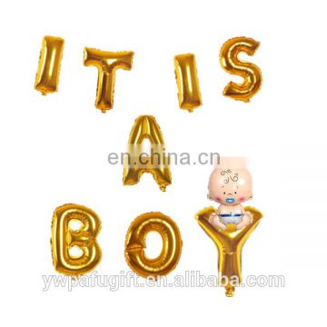 "Baby Girl Shower silver Balloons ""ITS A BOY"" Letters Alphabets Foil Balloons"