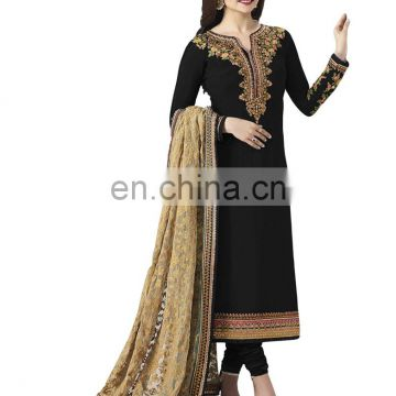 Women's Stylish Party Wear Heavy Resham Embroidery Georgette Salwar Kameez 2017