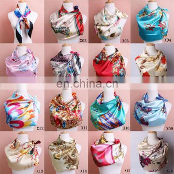 Women's Soft Silk Satin Square Women Soft Silk Square Scarves Scarf Bandanas Head Wrap Shawl Satin Stewardess Headband Head Neck