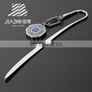 China blue white porcelain metal bookmarks pendant silver bookmark for gift