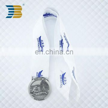Antique silver plated zinc alloy metal medal custom