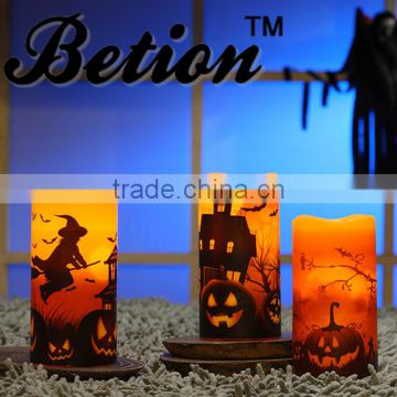 flameless candles led halloween decorative candles 3''x6'' halloween wax candles led pillar candles