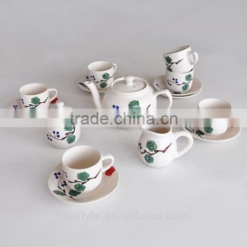 17PCS TEA SET, STONEWARE WITH HAND PAINTING
