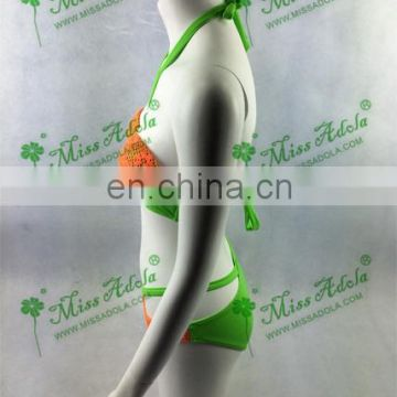 China MissAdola 2015 lady's latest style orange lace sexy swimwear