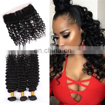 wholesale hair weave distributors loose wave Ear to Ear Lace Frontal Closure with bundles brazilian hair
