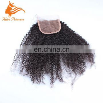 6A Peruvian Virgin Hair Closure 100% Human Hair 4X4 Afro Kinky Curly Lace Closure Bleached Knots Free Middle 3 Part Closure