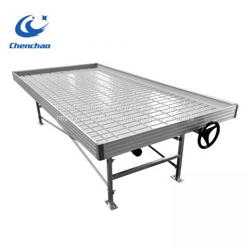 Greenhouse ebb and flow rolling bench with stand and wheel