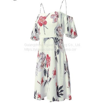 Floral Printed Off Shoulder Spaghetti Strap Short Casual Dress